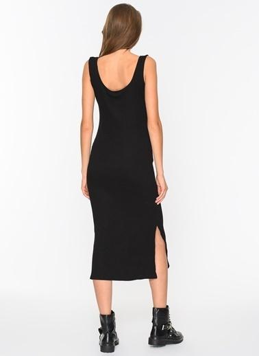 Agenda Yırtmaçlı Kaşkorse Elbise Siyah